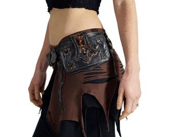TAIL Black - Handmade Leather Utility Belt With Pockets Hip Pouch Belt Festival Burning Man Belt Steampunk Belt-  BLACK