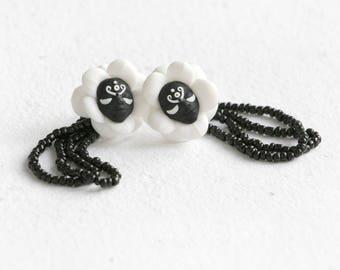 Fairy Flowers Earrings, Black Stud Earrings, Flower Earrings, Face Earrings, Magical Earrings, Miracle, Fairy Tale,  Faery, Mysterious