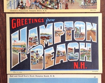 Hampton Beach, NH, New Hampshire, Vintage Postcards, retro, Lot of three, Large Letter, Surf and Great Boars Head, Children's Playground,