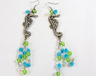 Seahorse Silver Tone Earrings ~ Tropical Aqua Blue and Light Green Beads ~ Drop ~ Fish Hooks