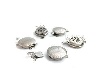 3 Holes Round Box Clasp, Brass Clasp, Necklace Clasp, Bracelet Clasp, Clasp For Stringing, Rhodium, 17mm, 1 Set