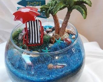 Tropical Beach Terrarium~Gift Idea~Home or Office Decor~Fully Made Item~Not a Kit