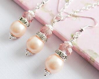 Peach Pearl Jewelry Set, Bridesmaid Set, Bridal Jewelry, Peach Pearl Earrings, Peach Wedding Jewelry, Bridal Party Gift