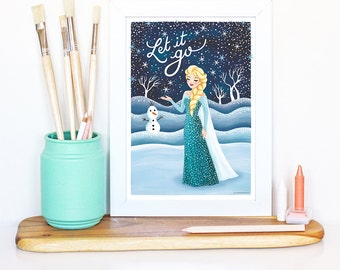 Frozen Elsa Poster, Typography Print, Disney Illustration, Let it Go Print, Nursery Decor, Wall Art, Disney Princess Art, Children Gift