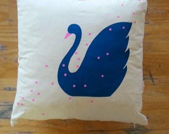 Polkadot Swan Cushion with Leopard Print on Reverse
