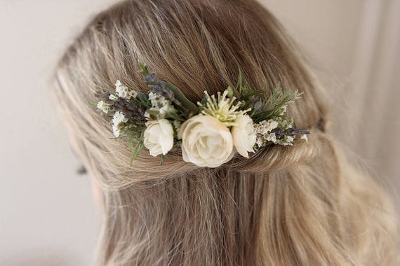 Ivory Flower Comb- Rustic Wedding- Dried Flower Comb- Ivory Floral Comb- Lavender Hair Accessory- Rosemary Greenery Comb- Summer Wedding