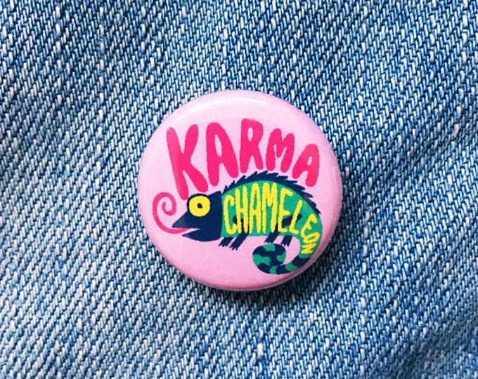 Karma chameleon hand drawn typographic badge