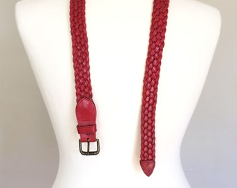 Red Leather Belt | Genuine Woven Leather Braided Belt | Women's Accessories
