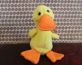 """TY Yellow Duck Beanie Baby """"Quackers"""" (B)"""