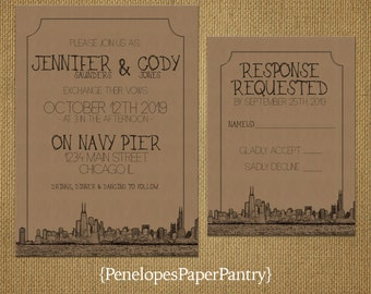 Vintage Chicago Destination Wedding Invitation,Chicago Skyline,Windy City,Cityscape Sketch,Kraft Paper,Rustic,Custom,Printed Invitation