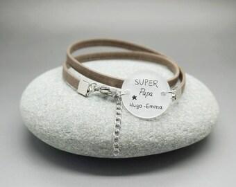 """bracelet homme cuir cabochon """"Super Papa"""" prénom enfant personnalisable"""