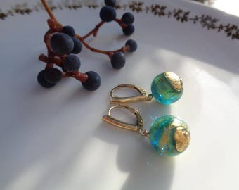 Gold Earrings, 585 gold filled, with Murano glass in green-gold