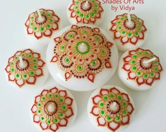 Set Of 8 Henna Floating Candles Hand Painted Decorative Wax Floating Candles Wedding Decor