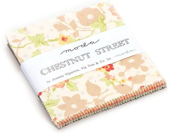 Chestnut Street charm pack 5 inch fabric squares for Moda Fabric by Fig Tree and Co.