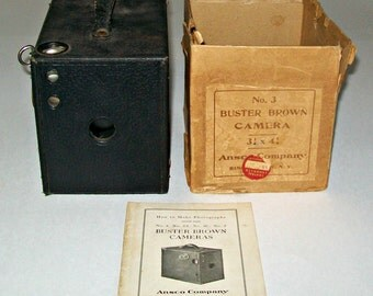 Vintage Ansco Buster Brown No. 3 Box Camera with Original Instruction Booklet and Original Box