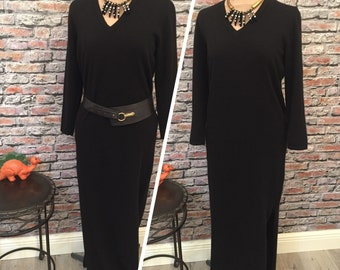 Vintage David Goodman for Buonuomo Black Cashmere Maxi Dress  Size Medium
