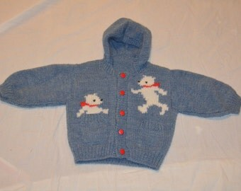 Vintage Childs or Boys Hand Knit Blue Hooded Sweater with Bears on the Front
