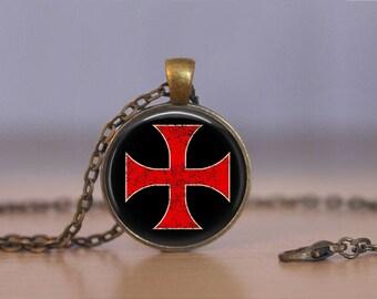 Templar cross etsy knights templar cross necklace cross necklace templar jewelry order of solomon aloadofball Image collections