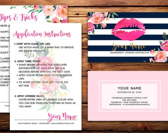 LipSense Business Cards Buyers Cards || Custom Navy Striped Watercolor Florals