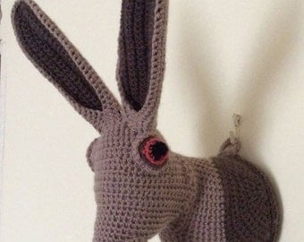 Crochet 'taxidermy' style Hare head wall decoration