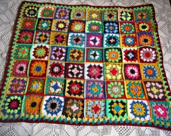 new baby blanket, crochet Afghan, plaid Granny multicolored, patchwork squares, handmade