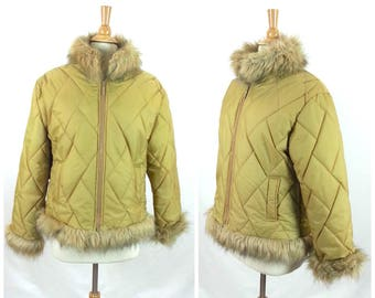 Vtg Puffy 90s do 60s Mod Jacket - Small / quilted anorak gold faux fur trim winter coat retro vintage ski snow winter womens