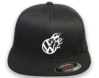 VW Flame Volkswagen Flex Fit Hat **CURVED Bill**  ***Free Shipping in BOX***