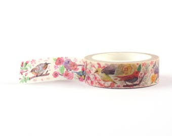 Vintage looking Birds Washi Tape - scrapbooking, decorative masking tape, 10 meter, littleleftylou