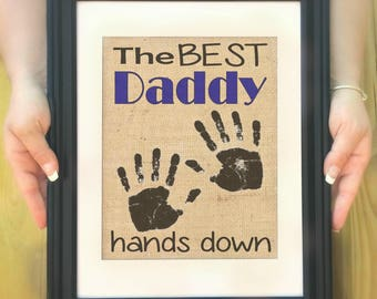 Best Daddy Gifts - Gifts for Daddy, Personalized Father's Day Gift from Kids, Handprint Art, Best Daddy Ever, Birthday Gift. Father's Day