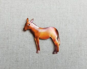 Flame painted copper Mule, pin
