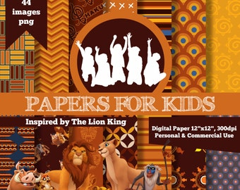 digital papers the lion king invitation clipart background papers for kids - Papers For Kids