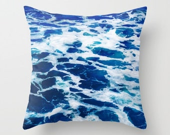 Deep Blue ocean Pillow Cover Malibu coastal surf decor boho pillow Water deep blue white sea decorative water pillow case blue ocean bedding