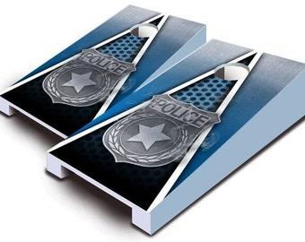 Police Badge Tabletop Cornhole Board Set.