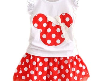 Disney Inspired Minnie Mouse 2PC Girls Clothing Set with Skirt - Boutique Fashion for Spring, Summer, Fall