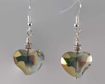 Crystal heart earrings, gold pink crystal earrings, heart earrings, crystal earrings, heart jewellery, sterling silver earrings, hearts.