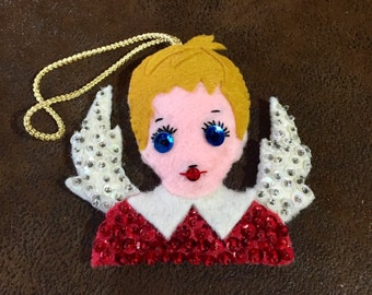 Vintage Completed Bucilla Felt Ornament, Angel, Angel Ornament