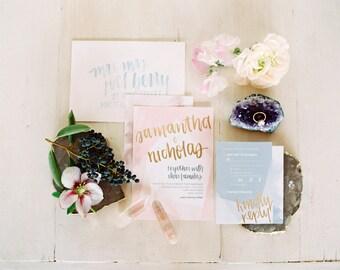 geometric pastel watercolor wedding invitation suite download // modern boho custom handwritten printable // bohemian blush gold design