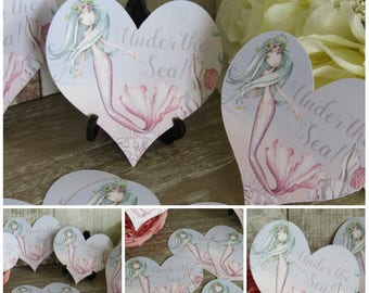 8  Mermaid Heart Table Cards Decoration,Wedding,Party,Table Decor, Gift tags,Crafts,Cardmaking,Baby Shower,Under The Sea