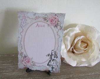 8 Alice In Wonderland Blank Tattered Edge Table Name Cards Decoration,Wedding,Party