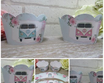 12 Shabby Chic Floral Retro Camper Van Cupcake Wrappers Holders, Cake Wraps,Campervan Wedding