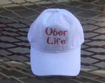 Uber Life - White Hat With Red Letters