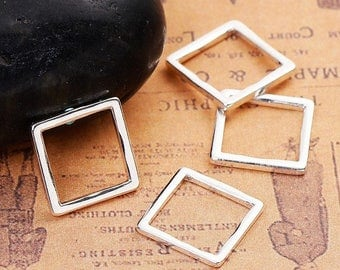 30 silver 13x13mm square closed rings