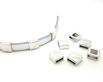 10 passers-by square silver matte for cord flat 10mm