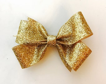 Gold glitter single hairbow clip