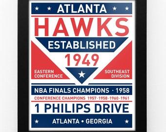 Atlanta Hawks Dual Tone Modern Team Print Framed