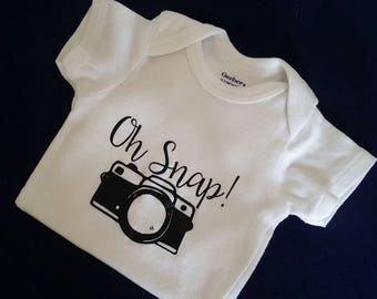 Baby Bodysuit Oh Snap!, Photographer Baby Bodysuit, Camera Baby Bodysuit, Unisex Baby Bodysuit