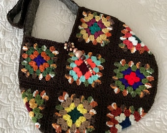 Large Bohemian Crochet Bag Handmade Crochet Granny Squares - Fully Lined - Brown with Multi Colors - Item 500