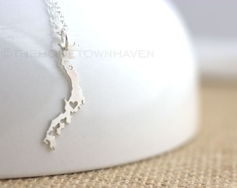 Japan Necklace - I heart Japan, I love Tokyo, Japanese Pride, Japan Silhouette, Country necklace