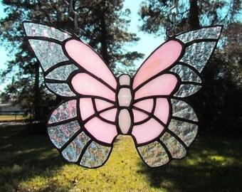Pink Stained Glass Butterfly Suncatcher, Butterfly Suncatcher, Glass Butterfly, Butterfly Ornament, Home Decor, Sun Catcher