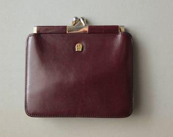 1980's Etienne Aigner Burgundy/ Brown Soft Leather Wallet